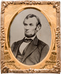 Political:Ferrotypes / Photo Badges (pre-1896), Abraham Lincoln: Ninth Plate Tintype....