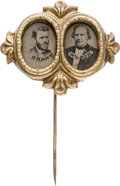Political:Ferrotypes / Photo Badges (pre-1896), Grant & Wilson: Fancy Ferrotype Jugate Stickpin....