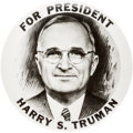 Political:Pinback Buttons (1896-present), Harry S Truman: Exceptional Real Photo Picture Pin....