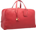 Luxury Accessories:Travel/Trunks, Hermes 50cm Vermillion Clemence Leather Victoria Voyage Bag withGold Hardware. C Square, 1999. Good to Very GoodCond...