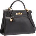 Luxury Accessories:Bags, Hermes 32cm Black Calf Box Leather Retourne Kelly Bag with GoldHardware. D Square, 2000. Very Good to ExcellentCondi...
