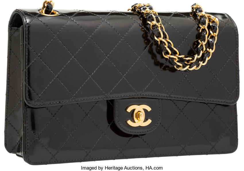 309c046876d4 ... Luxury Accessories:Bags, Chanel Black Quilted Patent Leather Medium  Single Flap Bag withGold Hardware ...