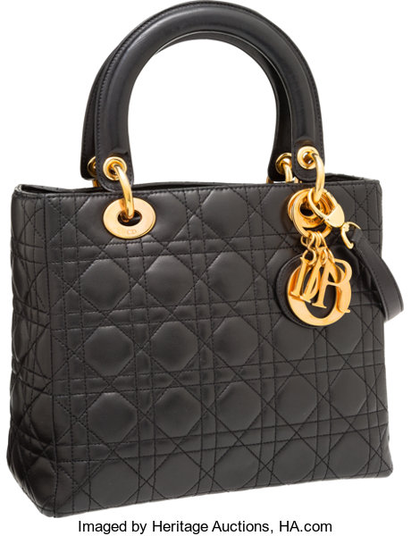 Christian Dior Black Cannage Quilted Lambskin Leather Lady Dior ... 3a6130aabe4fb