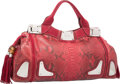 "Luxury Accessories:Bags, Gucci Red Python & Suede Race Bag . Excellent Condition.20"" Width x 10"" Height x 5"" Depth. ..."