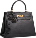 "Luxury Accessories:Bags, Hermes 28cm Shiny Black Crocodile Sellier Kelly Bag with GoldHardware. Circa 1960's. Good Condition. 11.5""Width ..."