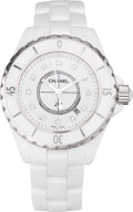 "Luxury Accessories:Accessories, Chanel White Ceramic & Diamond J12 Watch. ExcellentCondition. 24mm Dial x 5.75"" Length. ..."