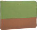 "Luxury Accessories:Bags, Celine Green & Brown Leather Clutch Bag. PristineCondition. 9.75"" Width x 7"" Height x 1.75"" Depth. ..."