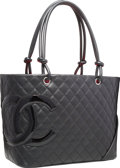 "Luxury Accessories:Bags, Chanel Black Quilted Leather Large Cambon Tote Bag. Very Good toExcellent Condition. 12"" Width x 9.5"" Height x 3.5"" D..."