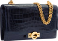 Luxury Accessories:Bags, Hermes Shiny Blue Marine Caiman Crocodile Sac Olympe Bag with GoldHardware. M Circle, 1983. Very Good to ExcellentCo...