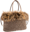 "Luxury Accessories:Bags, Brunello Cucinelli Brown Fox Fur & Knit Tote Bag. ExcellentCondition. 14"" Width x 11"" Height x 6"" Depth. ..."