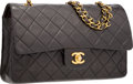 "Luxury Accessories:Accessories, Chanel Black Quilted Lambskin Leather Medium Double Flap Bag with Gold Hardware. Good Condition. 10"" Width x 6.5"" Heig..."