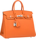 """Luxury Accessories:Bags, Hermes 25cm Orange H Togo Leather Birkin Bag with PalladiumHardware. O Square, 2011. Excellent Condition.9.5"""" Wi..."""
