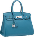 Luxury Accessories:Bags, Hermes 30cm Blue Izmir Clemence Leather Birkin Bag with PalladiumHardware. P Square, 2012. Excellent Condition.1...