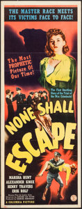"Movie Posters:War, None Shall Escape (Columbia, 1944). Insert (14"" X 36""). War.. ..."