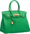 """Luxury Accessories:Bags, Hermes 30cm Bamboo Togo Leather Birkin Bag with Gold Hardware. R Square, 2014. Pristine Condition. 12"""" Width x 8"""" ..."""