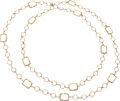 """Luxury Accessories:Accessories, Chanel Clear Crystal & Gold Sautoir Necklace. ExcellentCondition. 60"""" Length x .5"""" Width. ..."""