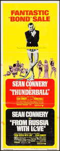 """Movie Posters:James Bond, Thunderball/From Russia with Love Combo (United Artists, R-1968).Insert (14"""" X 36""""). James Bond.. ..."""