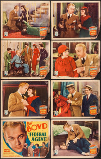 """Federal Agent & Other Lot (Republic, 1936). Lobby Card Set of 8 and Lobby Cards (3) (11"""" X 14""""), & One..."""