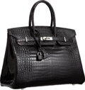 Luxury Accessories:Bags, Hermes 35cm Shiny Black Porosus Crocodile Birkin Bag with Palladium Hardware. H Square, 2004. Very Good to Excellent C...