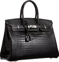 Hermes 35cm Shiny Black Porosus Crocodile Birkin Bag with Palladium Hardware H Square, 2004 Very