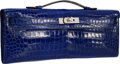 Luxury Accessories:Bags, Hermes Shiny Blue Electric Alligator Kelly Cut Clutch Bag with Palladium Hardware. P Square, 2012. Excellent Condition...