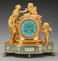 Clocks & Mechanical:Clocks, A Napoleon III Gilt Bronze Figural Mantle Clock with Inset Sèvres-Style Porcelain Plaques, circa 1855. 12-1/4 inches high x ...