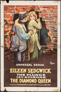 """The Diamond Queen (Universal, 1921). One Sheet (27"""" X 41"""") Episode #14 - """"The Plunge."""" Serial"""