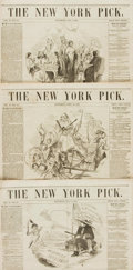 Books:Periodicals, [Illustrated Periodical, Newspaper]. Three Issues of The NewYork Pick. Circa 1853....