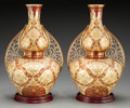 Ceramics & Porcelain, A Pair of Crown Derby Porcelain Double Gourd Arabian Vases with Stands, Derby, England, circa 1884. Marks: (crow... (Total: 2 Items)