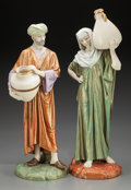 Ceramics & Porcelain, A Pair of Royal Worcester Porcelain Cairo Water Carrier Figures modeled by James Hadley, Worcester, England, cir... (Total: 2 Items)