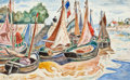 Fine Art - Work on Paper:Watercolor, Henri Liénard de Saint-Delis (French, 1878-1949). Sailboats onthe Sand. Watercolor on paper. 11-5/8 x 18-3/4 inches (29...