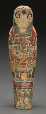 An Important Egyptian Falcon Mummy and Sarcophagus, Late Dynastic-Ptolemaic Period, 350-50 BC 19 inches high (48.3