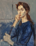 Fine Art - Painting, American:Modern  (1900 1949)  , Moses Soyer (American, 1899-1974). Portait of Cynthia. Oilon canvas. 20 x 16-1/4 inches (50.8 x 41.3 cm). ...