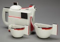 Ceramics & Porcelain, Russian, A Kazimir Malevich Glazed Porcelain Suprematist Teapot and TwoCups, designed 1920. Painted to underside K. Malevich (in...(Total: 3 Items)