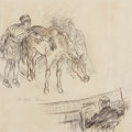 Fine Art - Work on Paper:Drawing, William James Glackens (American, 1870-1938). Illustrations forthe opera 'Mazzepa' (double-sided work), circa August 19...