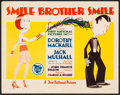 "Movie Posters:Comedy, Smile, Brother, Smile (First National, 1927). Title Lobby Card (11""X 14""). Comedy.. ..."