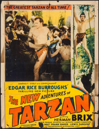 "The New Adventures of Tarzan & Others Lot (Burroughs-Tarzan-Enterprise, 1935). Trimmed One Sheet (27"" X 36""..."