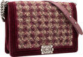 """Luxury Accessories:Bags, Chanel Burgundy Velvet & Tufted Boucle Boy Bag with GunmetalHardware. Very Good Condition. 12"""" Width x 9"""" Height x3""""..."""