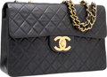 "Luxury Accessories:Bags, Chanel Black Quilted Lambskin Leather Maxi Single Flap Bag withGold Hardware. Very Good Condition. 13"" Width x 9""Hei..."