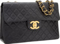 "Luxury Accessories:Bags, Chanel Black Quilted Lambskin Leather Maxi Single Flap Bag with Gold Hardware. Very Good Condition. 13"" Width x 9"" Hei..."