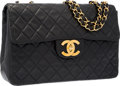 "Luxury Accessories:Accessories, Chanel Black Quilted Lambskin Leather Maxi Single Flap Bag withGold Hardware. Good Condition. 13"" Width x 9"" Heightx..."