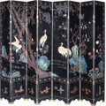 Asian:Chinese, A Large Chinese Lacquered and Painted Eight-Panel Screen. 95 inches high x 137 inches wide x 0-5/8 inches deep (241.3 x 348....