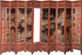 Asian:Chinese, A Large Chinese Ten-Panel Lacquered and Reticulated Screen. 94inches high x 187-1/2 inches wide x 1-1/4 inches deep (238.8 ...(Total: 5 Items)
