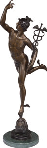 Sculpture, After Giambologna (Flemish, 1529-1608). Mercury. Bronze with brown patina. 31 inches (78.7 cm) high on a 1 inches (2.5 c...