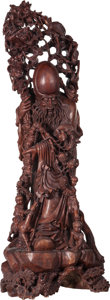 Asian:Chinese, A Large Chinese Carved Hardwood Figure of Shoulao. 54 inches high(137.2 cm). ...
