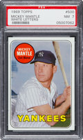 Baseball Cards:Singles (1960-1969), 1969 Topps Mickey Mantle, White Letters #500 PSA NM 7....