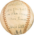 Baseball Collectibles:Balls, 1943-46 Mel Ott Single Signed Baseball with Incredible Inscription to Toots Shor. ...