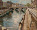 Fine Art - Painting, European:Antique  (Pre 1900), C. Pono (French, 20th Century). Paris along the Quai. Oil on canvas. 25-1/2 x 32 inches (64.8 x 81.3 cm). Signed lower r...