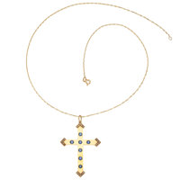 Synthetic Sapphire, Seed Pearl, Gold Pendant-Necklace