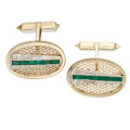 Estate Jewelry:Cufflinks, Emerald, Diamond, Yellow Metal Cuff Links. ...
